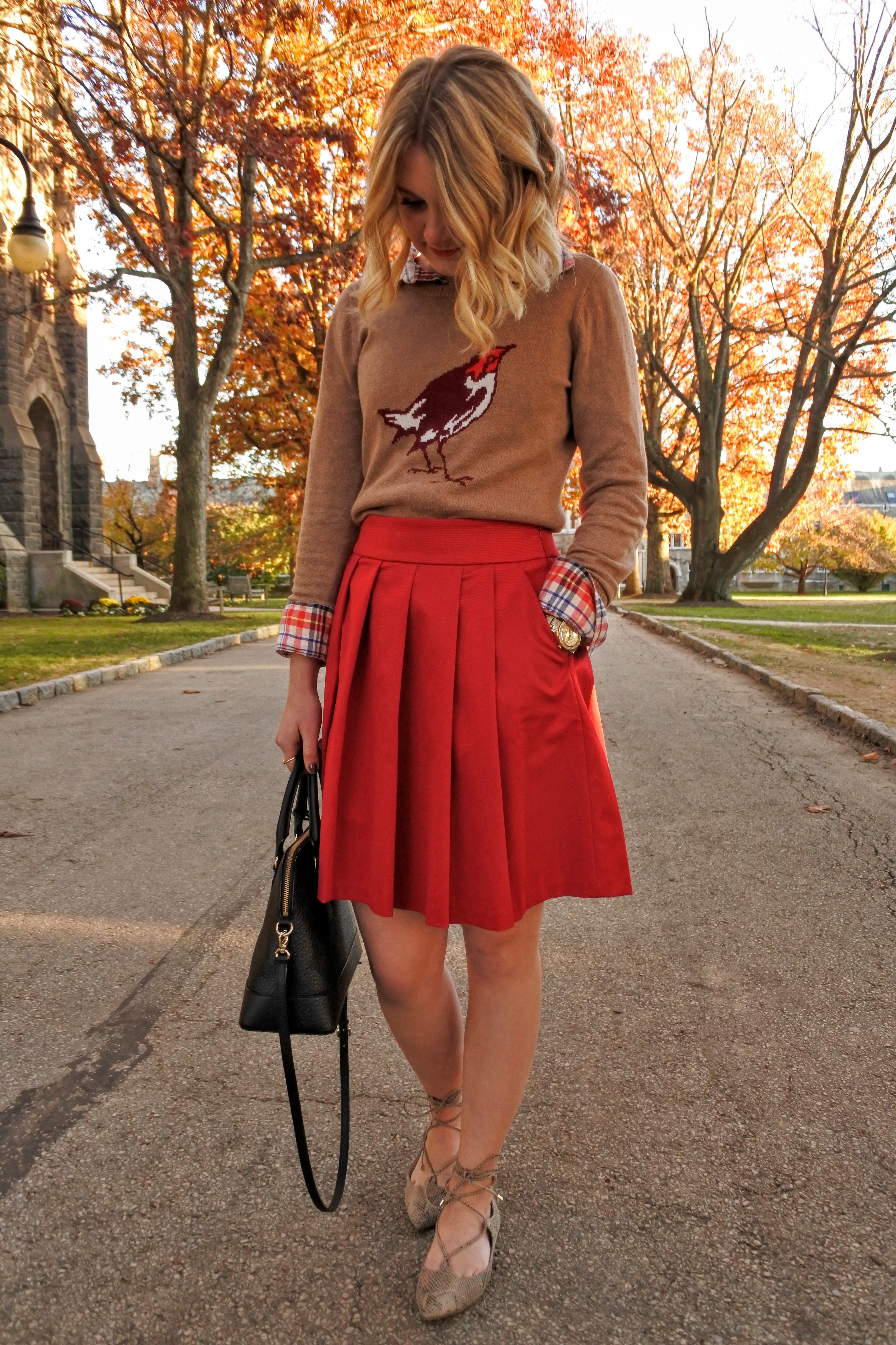 Thanksgiving Outfit: The Prettiest Red Skirt